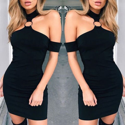 Image of Sexy Black Women Off Shoulder Mini Dress