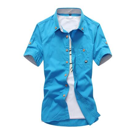 Image of Mushroom Embroidery Mens Short Sleeve Casual Shirts