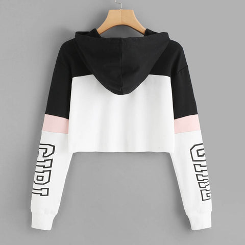 Image of Harajuku Hoodies Sweatshirt Women Streetwear Letter Crop Top Hoodie
