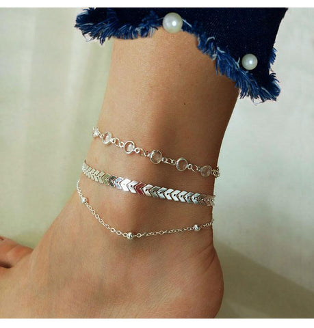 Image of Chevron and Crystals Anklet Set 3pcs