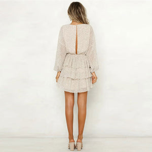 Women White Backless Mini Party Dresses Long Sleeve