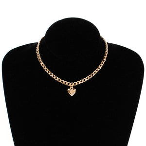 Women Jewelry Cute Heart Lock Necklace Gold Silver Choker