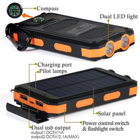 Image of Solar 20000mah F5S For All Phone Bank Charger Battery Portable
