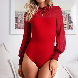 Women Solid Slim Casual Bodysuit