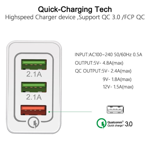 Image of 18 W USB Quick charge 3.0 5V 3A for Iphone 7 8 EU US Plug Mobile Phone Fast charger charging
