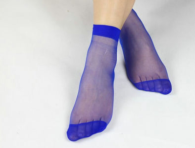 10 Pairs Multicolor Ankle High Nylon Socks
