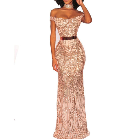 Image of Off Shoulder Gold Dress