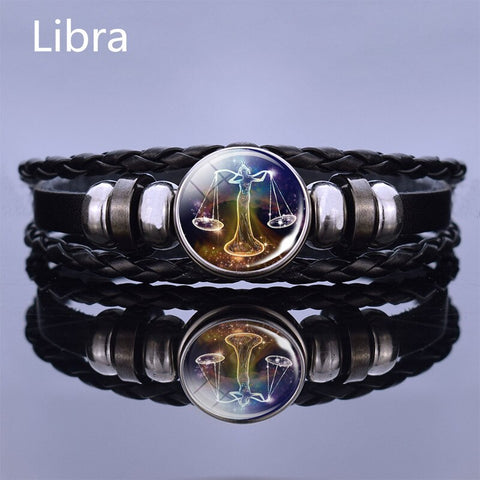 Black Multilayer Leather Bracelet 12 Constellation Bracelet Charms Zodiac Sign Glass