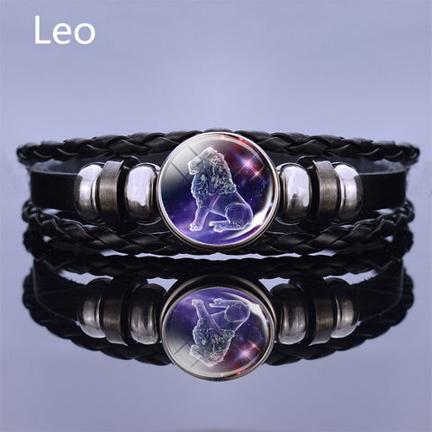 Image of Black Multilayer Leather Bracelet 12 Constellation Bracelet Charms Zodiac Sign Glass