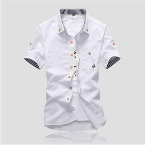 Mushroom Embroidery Mens Short Sleeve Casual Shirts