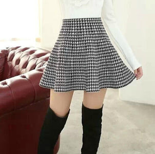 Spring Bubble Beauty All-match Houndstooth Skirt