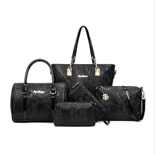Women Leather Handbags-Six Piece Set