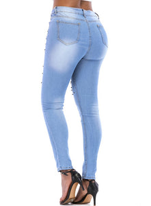 Women Skinny Pearl Beaded Front Jeans