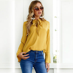 Solid Long Sleeve V-neck Shirt
