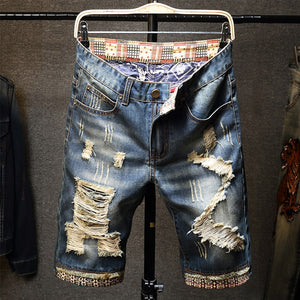 Men Fit Hole Straight Denim Jeans Shorts