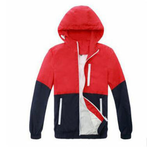 Patchwork Hoodies Men Zipper Sweatshirts