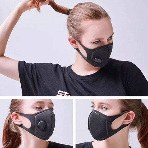 Unisex Sponge Dustproof PM2.5 Pollution Half Face Mouth Mask With Breath Valve