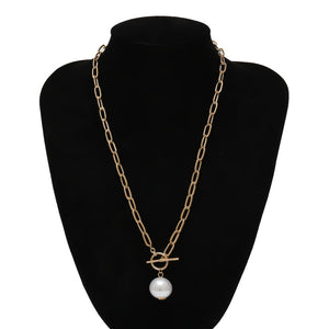 IngeSight.Z Punk Imitation Baroque Pearl Pendant Necklace Curb Cuban Thick Chain Toggle Clasp Long Necklaces for Women Jewelry