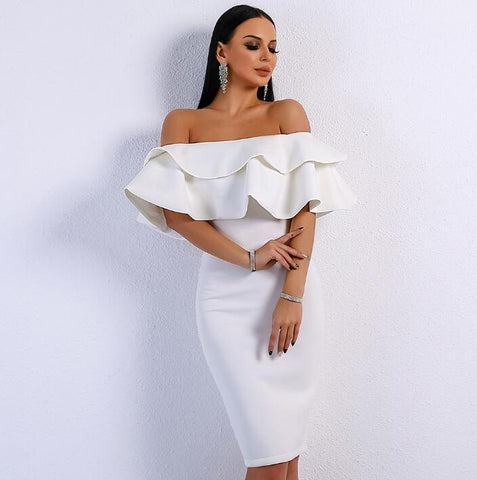 Image of Women Slash Neck Ruffles Backless Dresses