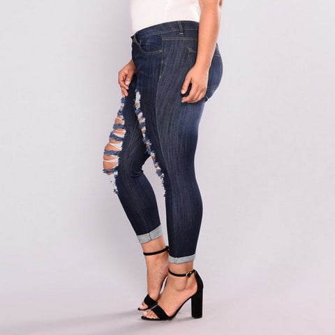 Image of High Elastic Hole Jeans