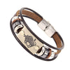 Constellations Men Bracelet Cuff Leather Alloy Zodiac Signs Man