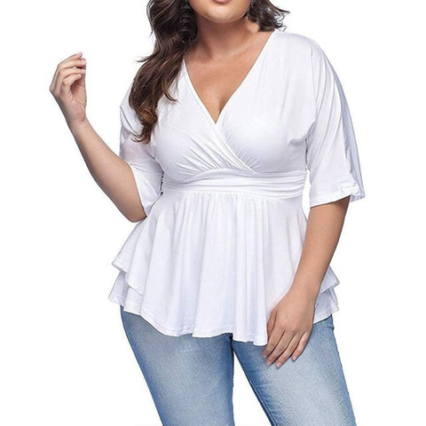 Plus Size Lace Up V Neck Solid
