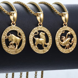 Men's Women's 12 Horoscope Zodiac Sign Gold Pendant Necklace