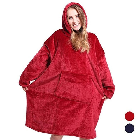 Unisex Microfiber Plush Coral Fleece Sherpa Blanket(Red-Blue)