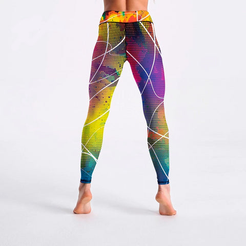 Image of Colorful Plaid Striped Print Fitness