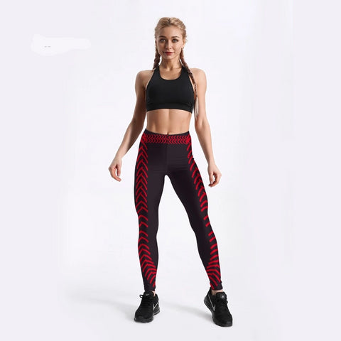Image of Arrow Printed Red Black Color Design Pants Fitness
