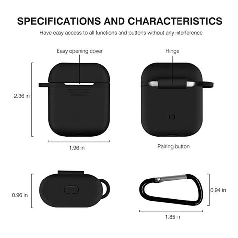Image of Silicone airpods case cover with Keychain for Apple airpods Protector case .