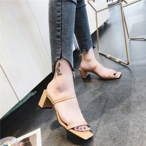 Slip On Square Heel Women