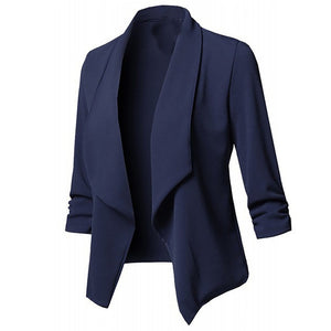 Solid color women blazer Open Front  Three Quarter Notched