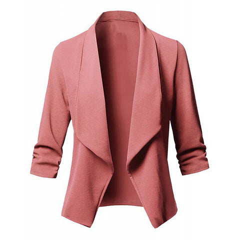 Image of Solid color women blazer Open Front  Three Quarter Notched