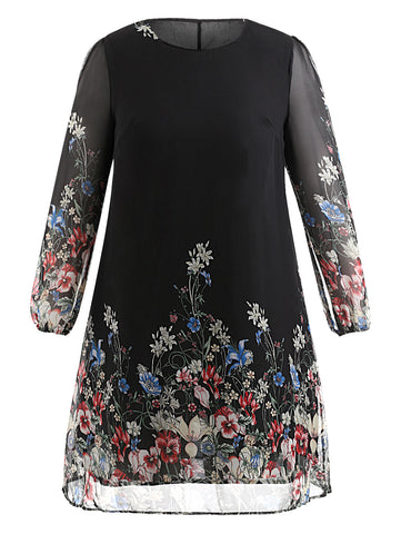 Multi Color Plus Size Floral Embroidery