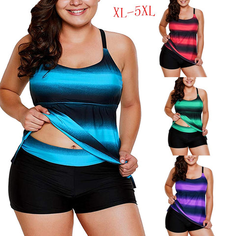 Plus Size  Swimwear Color Block