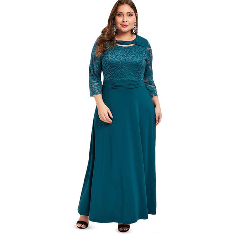 Women Plus Size Cut Out Lace Panel