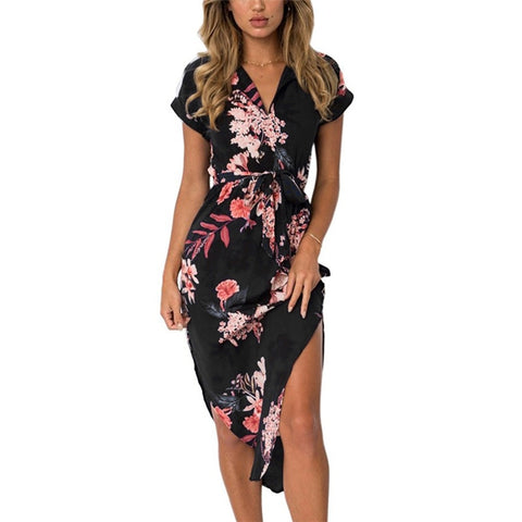 Image of Women Floral Print Beach Dress Fashion