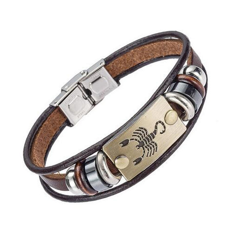 XINYAO Constellation Bracelets Men Women Genuine Braided Leather Bracelet Men Jewelry