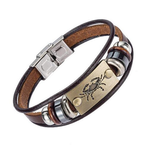 Image of XINYAO Constellation Bracelets Men Women Genuine Braided Leather Bracelet Men Jewelry