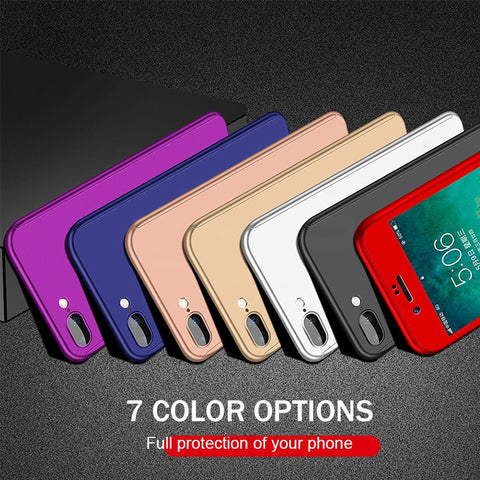 360 Full Protective Phone Case For iPhone 8 7 Plus 6 6s Case 5 5S SE X 10