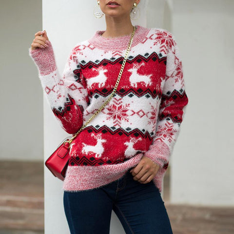 Women Snow Deer Knitted Long Sleeve Sweater