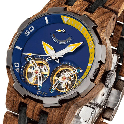 Image of Men's Dual Wheel Automatic Ambila Wood Watch