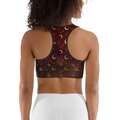 Image of Crescent Moon Burgundy Sports Bra