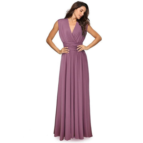 Image of Sexy Women Multiway Wrap Convertible Boho Maxi Club Red Dress