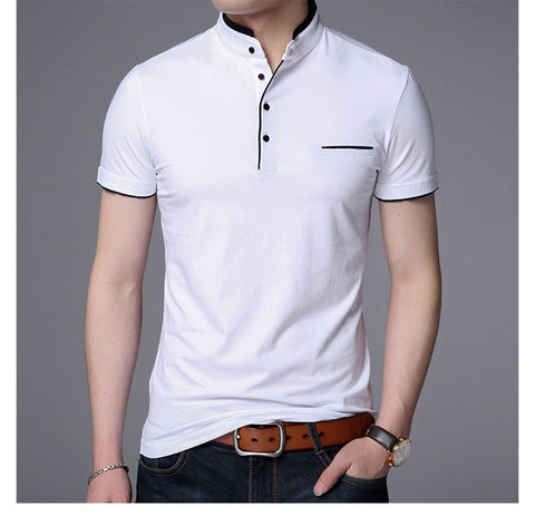 Image of Men Short Sleeve Solid Polo Shirt
