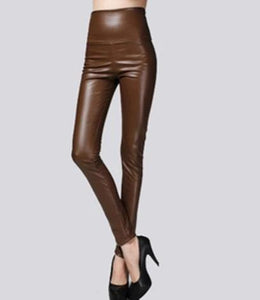 Winter Women Thin Leather Pants