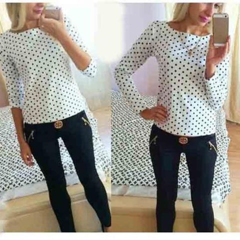 Image of Long Sleeve Polka Dot Casual Top