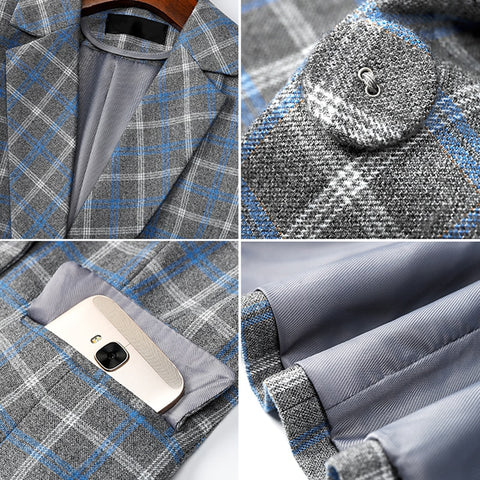 Image of Comfortable High-quality Plaid Jacket with Pocket