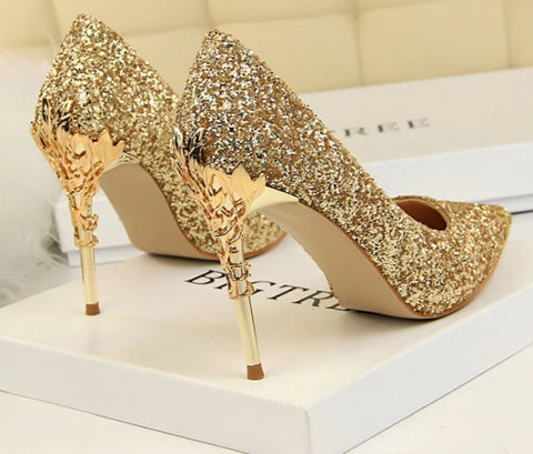 Image of Pointed Toe Metal Decoration Women Shoes